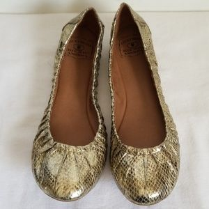 Lucky Brand Gold Reptile Leather Ballet Flats